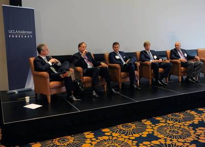 (L to R) Lewis C. Horne, president of CBRE Greater Los Angeles-Orange County Region; Michael J. Schall, president and CEO of Essex Property Trust; Philip W. Cyburt, CEO of Laurus Corporation; Thomas E. McCarthy, co-president of McCarthy Cook & Co.; and Timur Tecimer, president and CEO of Overton Moore Properties, at the UCLA Anderson Forecast on June 12, 2014. (PRNewsFoto/UCLA Anderson School Management)