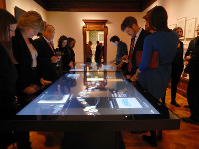 "At the heart of the New Cooper Hewitt Experience are a series of large size, high-resolution multitouch media tables.  Here twin 84"" 4K UHD multitouch tables designed and developed by Ideum are in one of the main gallery spaces. In all, over 2 tons of touch tables and touch walls were developed by Ideum and shipped to New York City for this exhibition. Learn more at: www.ideum.com"