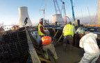 "Workers safely complete the 15-hour continuous concrete pour for the Vogtle Unit 3 ""turbine tabletop."""