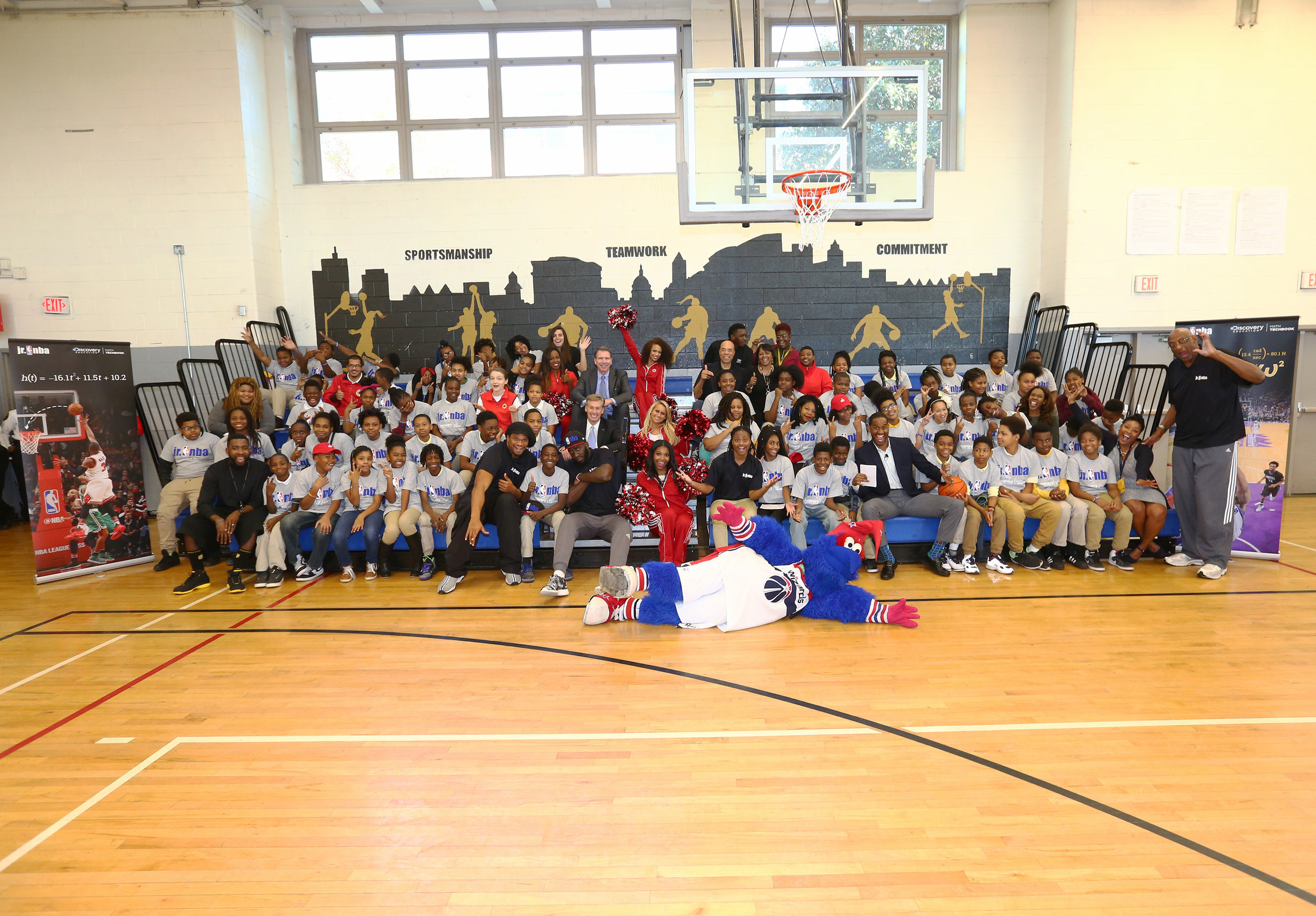 NBA and Discovery Education launch NBA math problems for Math Techbook at Johnson Middle School in Washington, D.C. with special NBA and WNBA guests including Washington Wizards forward Daniel Ochefu; Washington Mystics point guard Ivory Latta; Washington Wizards legends Phil Chenier and Etan Thomas; Hall of Famer and NBA Cares Ambassador Bob Lanier; NBA legend and NBA Cares Ambassador Felipe Lopez; NBA legend and NBA Executive Vice President, Basketball Operations Kiki VanDeWeghe...