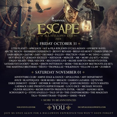 Official 4th Annual Escape All Hallows' Eve Festival Artwork. (PRNewsFoto/Insomniac)