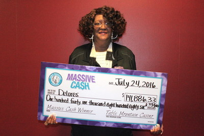 Congratulations to Delores, Table Mountain Casino's most recent Massive Cash Jackpot Winner. You could be next!