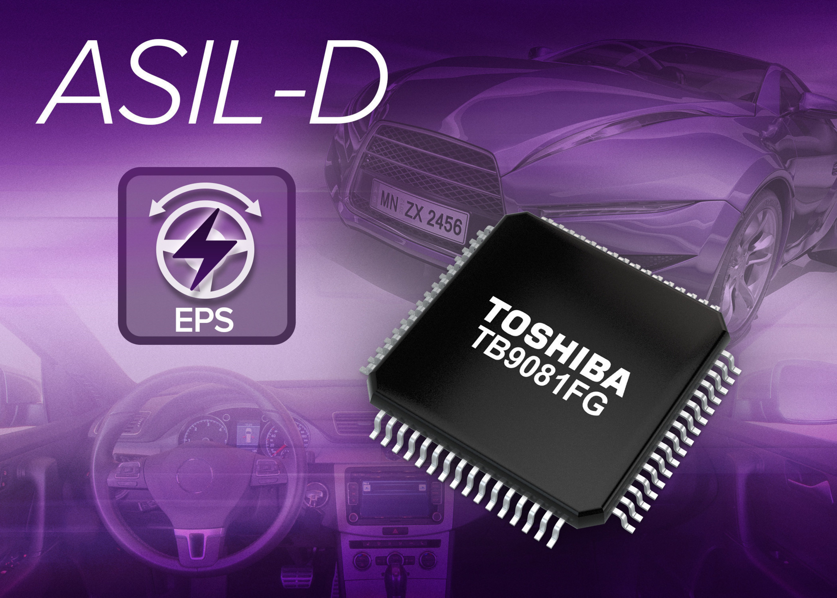 Toshiba TB9081FG motor pre-driver IC is fully ISO26262 ASIL-D compliant for use in electric power steering systems.