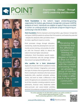 Outreach Flyer (PRNewsFoto/Point Foundation) (PRNewsFoto/POINT FOUNDATION)