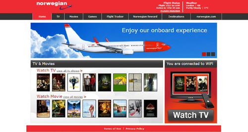 Norwegian Air Shuttle's inflight WiFi service now includes both Internet access and on-demand movies and TV episodes -- via passengers' own WiFi devices.  (PRNewsFoto/Row 44, Inc.)