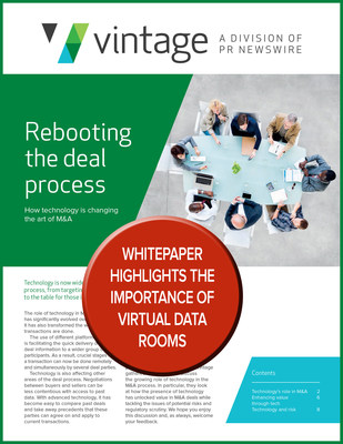 WHITEPAPER HIGHLIGHTS THE IMPORTANCE OF VIRTUAL DATA ROOMS; Download here > http://e.prnewswire.com/Vintage_Mergermarket_MA_whitepaper1.html
