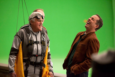 Jay Leno and Jerry Seinfeld in the making of Acura's Super Bowl Commerical.  (PRNewsFoto/American Honda Motor Co., Inc.)
