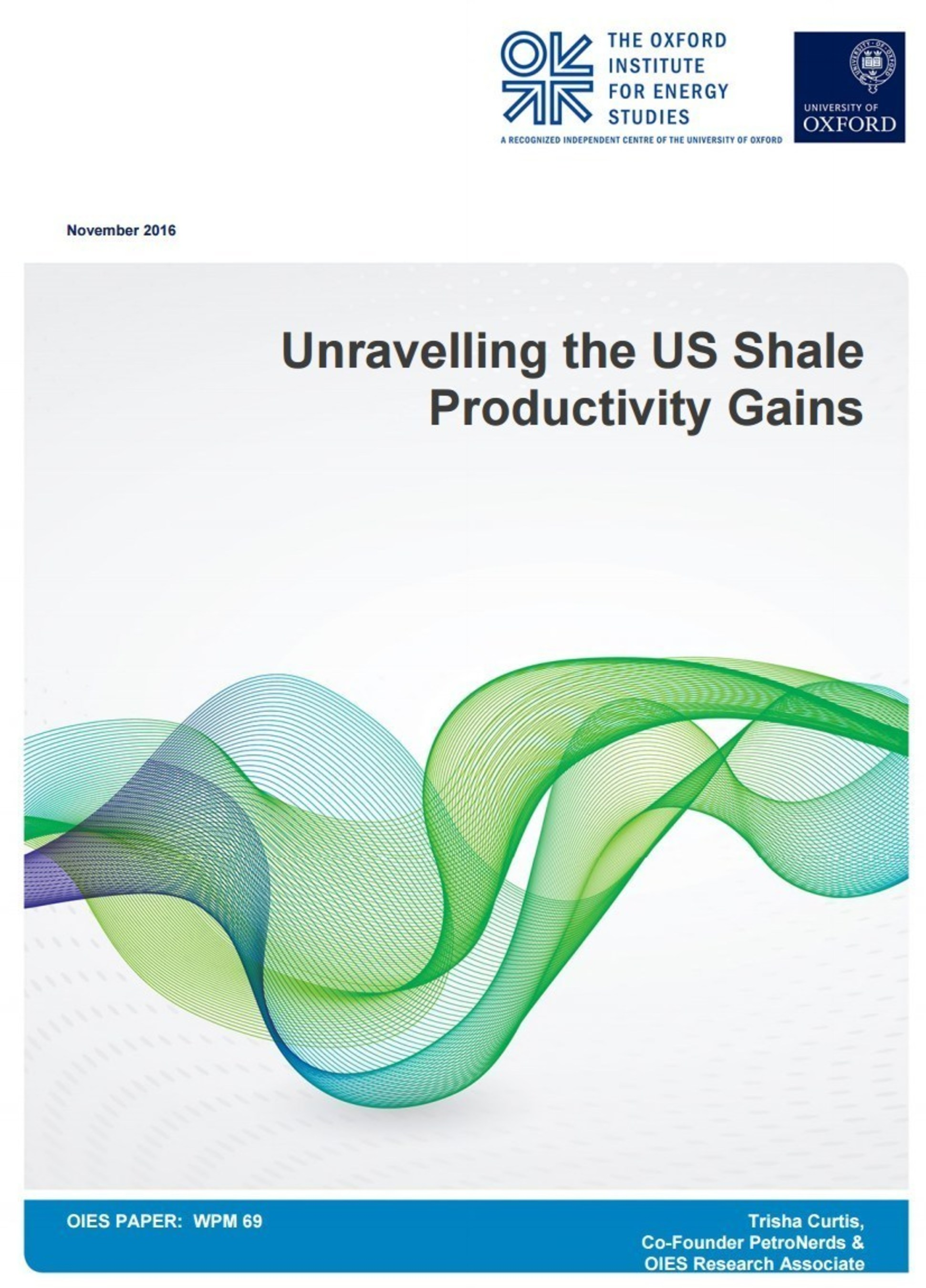 """""""Unravelling the US Shale Productivity Gains"""" Cover"""