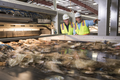 Jim Macias, Fulcrum President and CEO and David Gilmour, BP Vice President - Technology, Commercialization and Ventures observing operations at Fulcrum's Sierra BioFuels Feedstock Processing Facility.