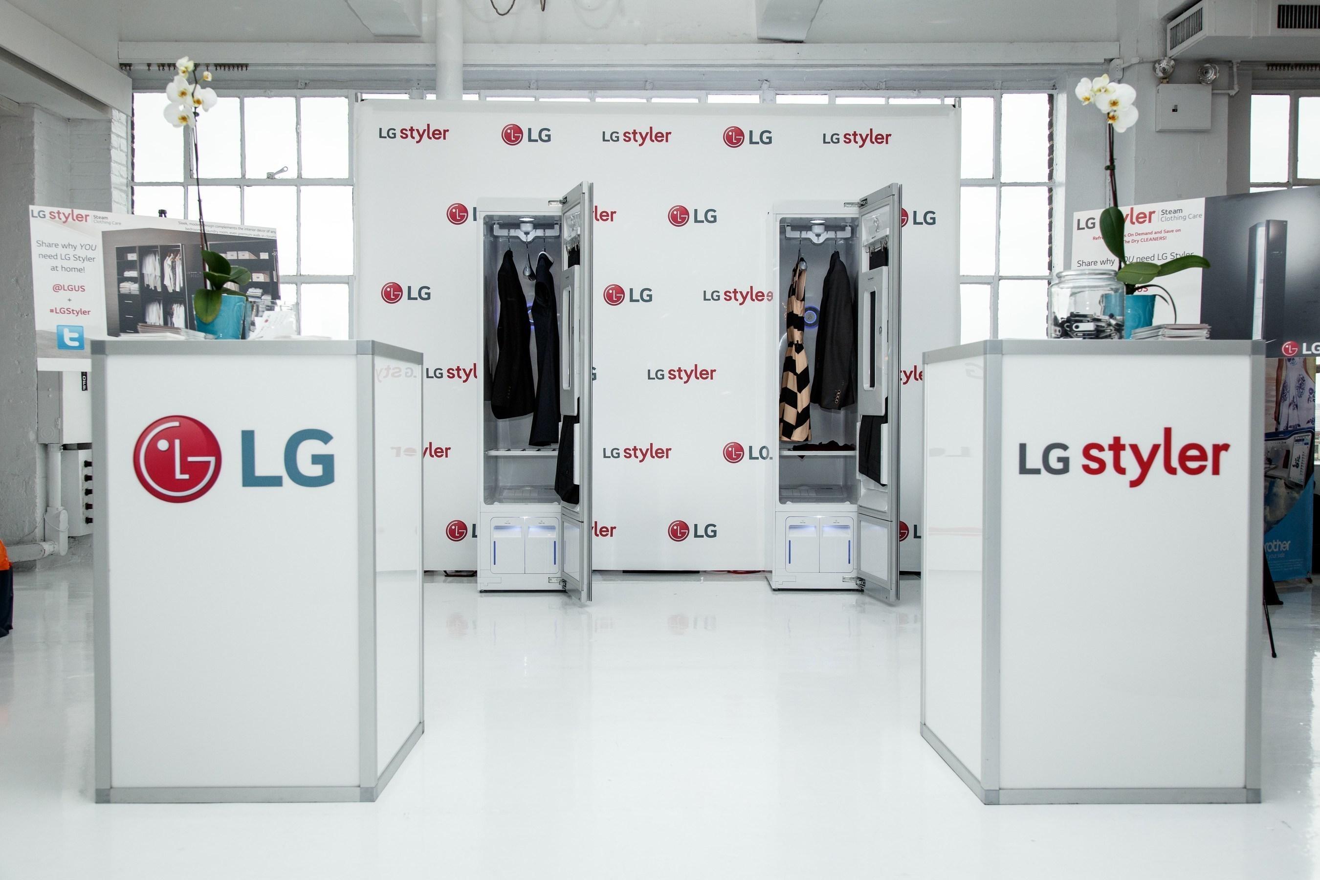 LG Styler displayed at Nextpert styleXtech VIP lounge.