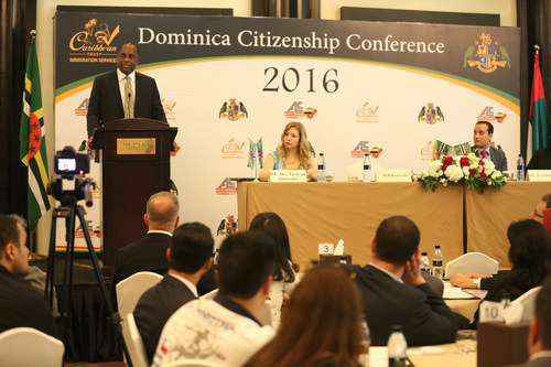 From left to right: Hon. PM Dr. Roosevelt Skerrit, H.E Nivin Ali and Dr. Aly Dakroury (PRNewsFoto/Caribbean ...
