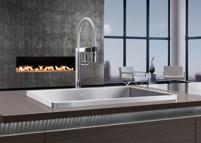 """BLANCO, the German manufacturer of finely crafted kitchen sinks and faucets, has joined DIFFA's Specify With Care(R) program, and will support the foundation with a donation when their award-winning BLANCO ATTIKA(TM) sink is specified. The BLANCO ATTIKA sink with its elevated modern rim design and bold architectural character has won many prestigious design honors for its one-of-a-kind elevated rim geometry including being voted the """"Best of The Best"""" at the Interior Innovation Award 2013, receiving the Red Dot Design Award, Good Design Award and the 2013 iF Product Design Award. (PRNewsFoto/BLANCO)"""
