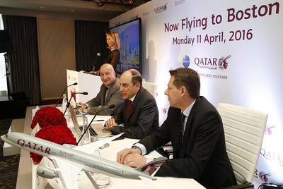 Giuliana Rancic emcees Qatar Airways' press conference in Boston where the airline's Group Chief Executive H.E. Mr. Akbar Al Baker (centre) presents on the airline's latest developments. With him are the airline Chief Commercial Officer, Dr. Hugh Dunleavy (left) and Vice President The Americas, Mr. Gunter Saurwein