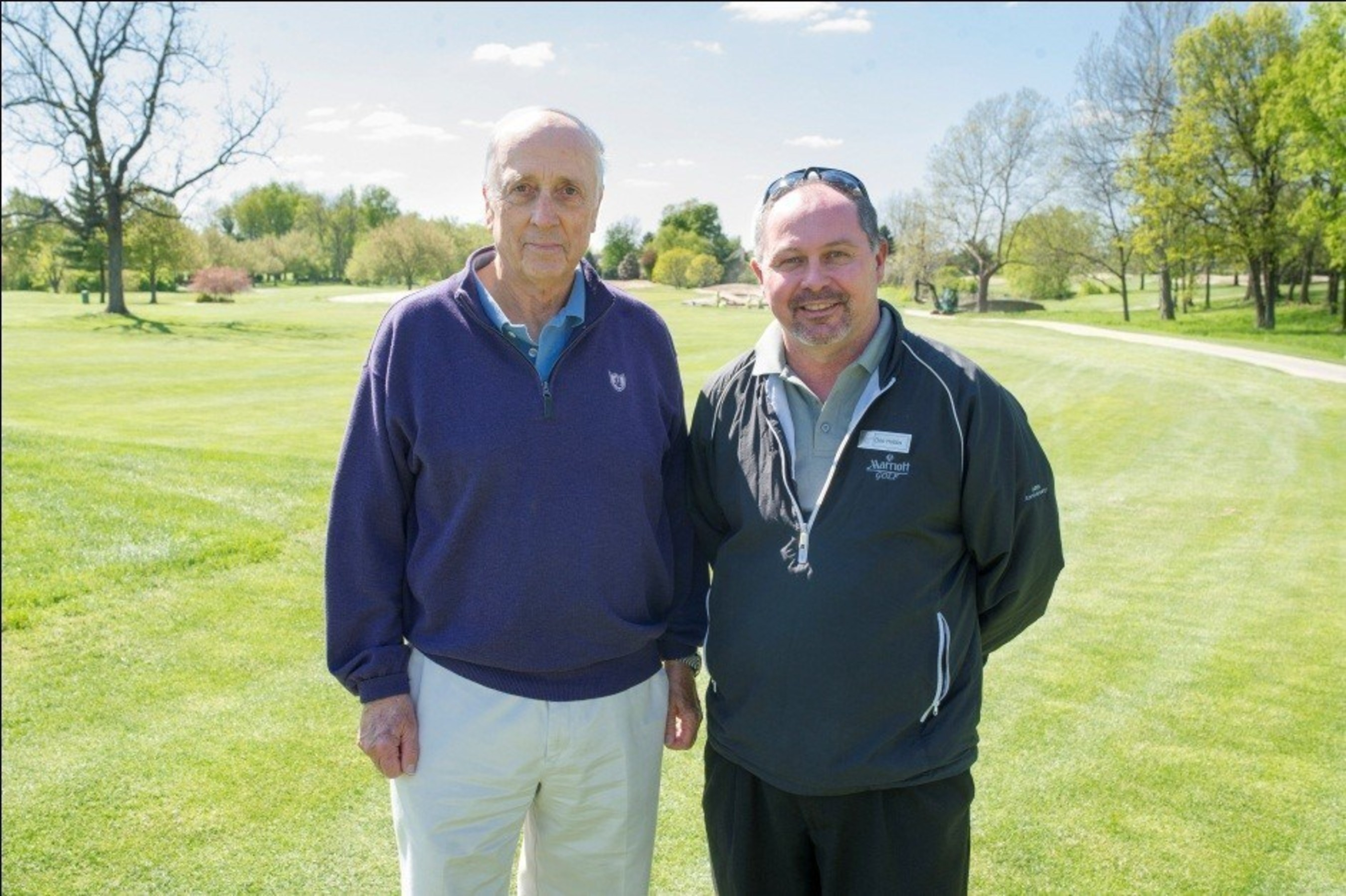 Renowned golf architect Rees Jones (left) and Griffin Gate Marriott Resort & Spa's Director of Golf Don Hobbs stand at the 13th hole at Griffin Gate golf course. The course underwent a $1 million bunker renovation. For information, visit www.GriffinGateGolf.com or call 1-859-288-6193.