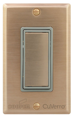 New line of switches and wallplates from Cooper Wiring Devices are made with an EPA registered CuVerro antimicrobial copper surface that kills more than 99.9% of bacteria within two hours.  (PRNewsFoto/Cooper Wiring Devices)