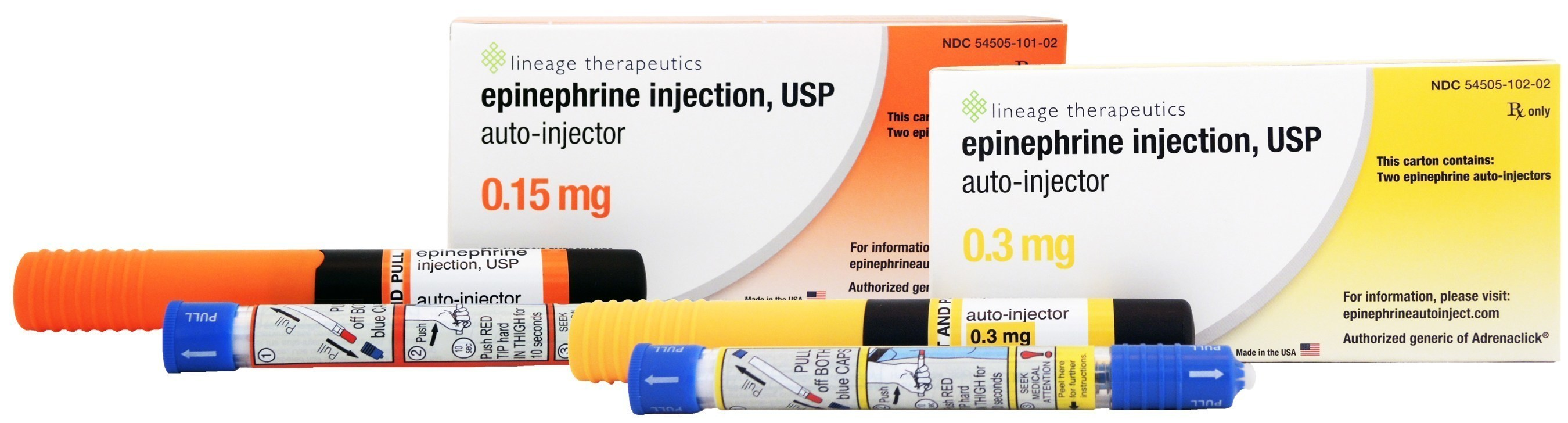 Epinephrine Injection, USP Auto-Injector, 0.15 mg and 0.3 mg, the authorized generic to Adrenaclick(R), is currently available in pharmacies across the United States
