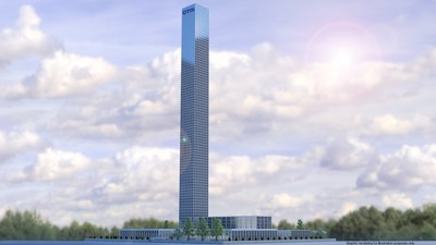Rendering of Otis test tower and global research & development center in Shanghai, China, scheduled for completion in 2018.