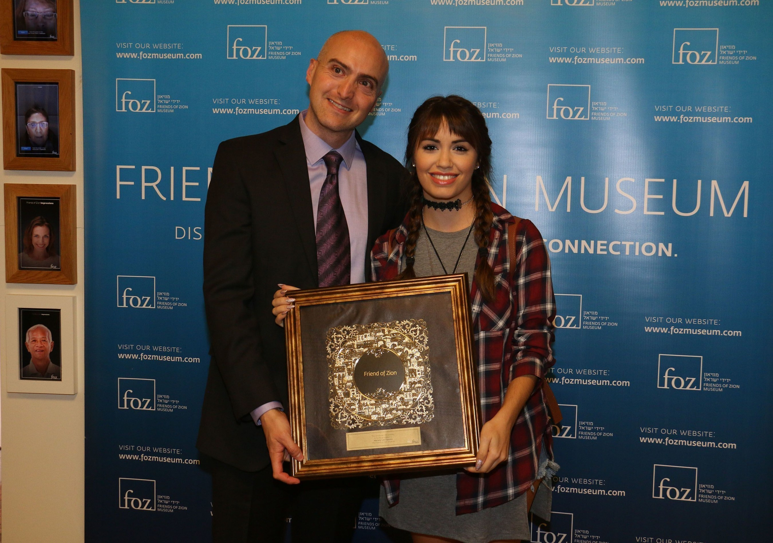 Lali Esposito receives Friendship Award from Friends of Zion Museum