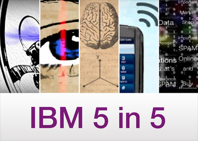 "Today IBM unveils the sixth annual ""IBM 5 in 5"" (#ibm5in5) - a list of innovations that have the potential to change the way people work, live and interact during the next five years. This year's five in five are: People power will come to life, you will never need a password again, mind reading is no longer science fiction, the digital divide will cease to exist and junk mail will become priority mail. The IBM 5 in 5 is based on market and societal trends as well as emerging technologies from IBM's research labs around the world that can make these transformations possible.  (PRNewsFoto/IBM)"