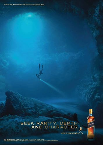 The Character advert for JOHNNIE WALKER BLUE LABEL features world-champion free diver Guillaume Nery ...
