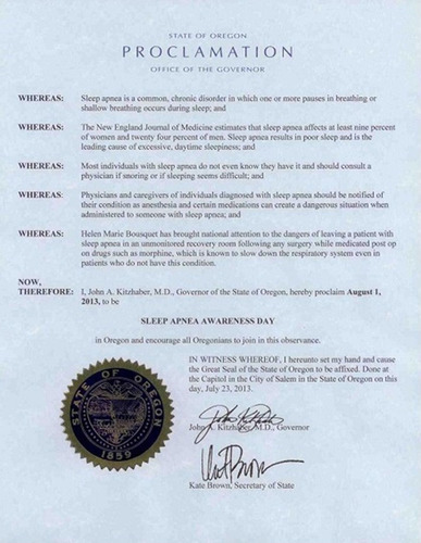 Governor Kitzhaber of Oregon, one of twelve to issue Sleep Apnea Proclamations so far. It's estimated that ...