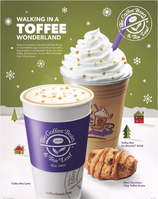 The Coffee Bean & Tea Leaf(r)'s Toffee Nut Latte, Mini Chocolate Chip Toffee Scone, and Toffee Nut Ice Blended(r) Drink