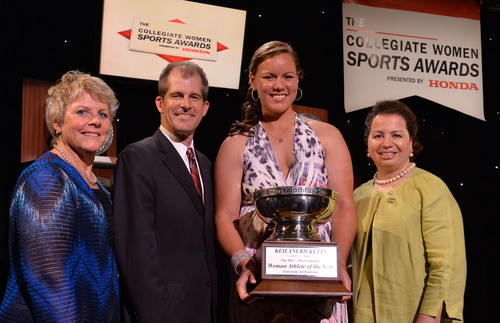 2013 Honda Cup winner, Keilani Ricketts from the University of Oklahoma pictured with Chris Voelz, CWSA Executive Director, Erik Wedin of Honda, and Jean Lenti Ponsetto, Board Chair of the Collegiate Women Sports Awards.  (PRNewsFoto/Honda Sports Awards)