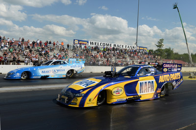 Ron Capps squared off with teammate and fellow Mopar Dodge Charger R/T Funny Car pilot Tommy Johnson Jr. in another all-Mopar final round, with Capps hoisting the trophy in the rain-delayed Monday finish to the Fourth Annual NHRA New England Nationals.