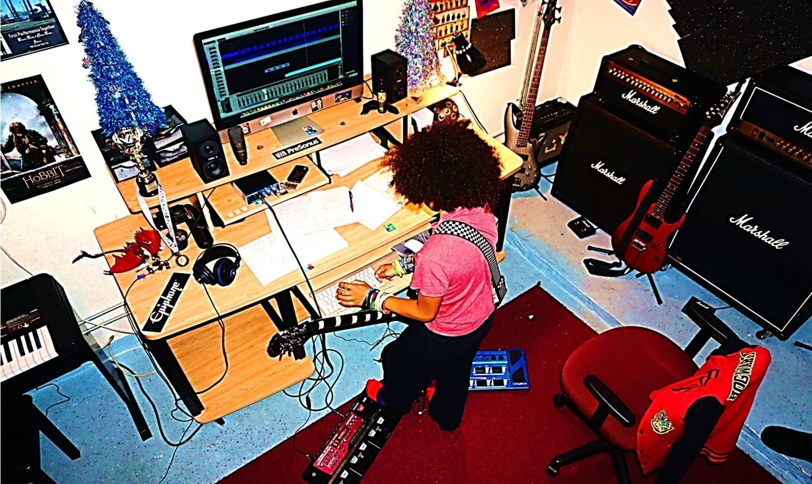 Brandon Bailey Johnson Producing in his studio