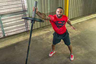 """Niles Paul, Washington Redskins football player, trains in Under Armour Alter Ego """"Superman"""" baselayer T."""