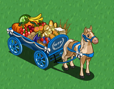 Zynga players will receive a choice of one exclusive, limited edition item for each contribution of $5 or more made through zynga.com/pizzahut, with 100 percent of the proceeds benefitting the World Food Programme. The food wagon is available to FarmVille players.  (PRNewsFoto/Pizza Hut)