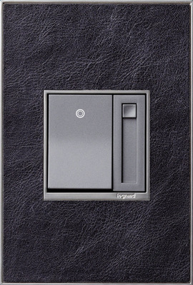 adorne Paddle Dimmer with Black Leather Wall Plate.  (PRNewsFoto/Legrand)