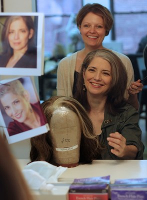 Suzanne Savoy and wigmaker Gretchen Androsavich at Charles LaPointe's studio in Midtown Manhattan, with the customized wig that helped Savoy land roles again after chemotherapy. (PHOTO: BONNIE BLACK)