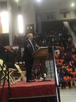 Congressman Fattah speaks at Temple University to high school seniors at Philadelphia's 2nd Annual College Signing Day.