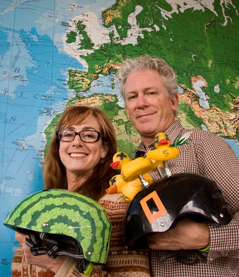 "Nutcase ""Nutty"" Over Europe: Left to right, Nutcase Helmets Co-Founders Miriam Berman with the original Watermelon helmet design, and Michael Morrow with the concept helmet that started the global brand.  (PRNewsFoto/Nutcase, Inc.)"