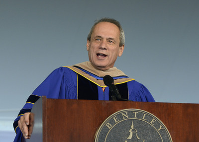 Red Sox President/CEO Larry Lucchino delivers the undergraduate commencement address at Bentley University on Saturday, May 19, 2012. (PRNewsFoto/Bentley University)