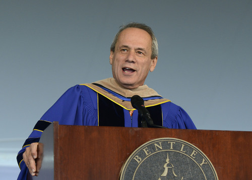 Red Sox President/CEO Larry Lucchino delivers the undergraduate commencement address at Bentley University on ...