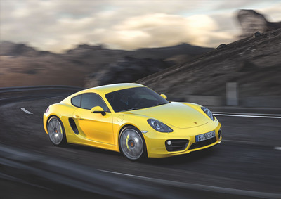 Porsche is celebrating the world premiere of the new Cayman at the 2012 Los Angeles Auto Show. The third generation of the mid-engine sports car has been completely new developed. It is lower and longer, lighter and faster, more efficient and more powerful than ever.  (PRNewsFoto/Porsche AG)