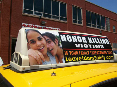 Honor murder victims Amina and Sarah Said of Texas, featured on SIOA's Freedom Taxi campaign in Chicago to raise awareness of the horrors of honor killing.  (PRNewsFoto/Stop Islamization of America)