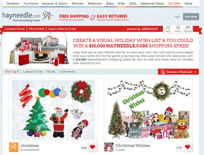 Holiday shoppers can enter the I'm Dreaming of Hayneedle Sweepstakes by registering and then creating a visual gift wish list from a virtual collection of gift images available at hayneedle.com.  Enter and offical rules at imdreamingof.hayneedle.com.  (PRNewsFoto/Hayneedle)