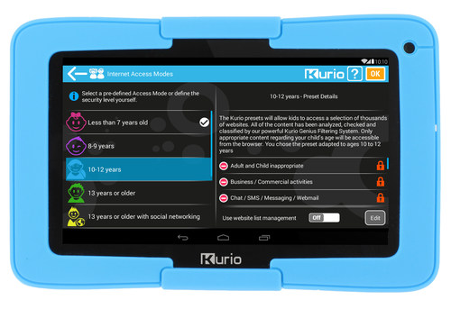 Kurio Xtreme includes the proprietary Kurio Genius Internet filtering system that is updated daily, covering more than 500 million websites in 170 languages to block inappropriate content and keep kids safe online.  No subscription is required.  Parents can choose from pre-defined Access Modes by age category, safe list or block specific websites or define a custom filter that meets their comfort level. (PRNewsFoto/Techno Source)