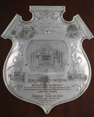 The Rainier Motor Company awarded this sterling silver plaque to driver Joan Newton Cuneo for achieving a perfect score in the 1908 Glidden Tour. The plaque, made by Gorham, is expected to sell for more than $40,000. MBA Seattle Auction House image