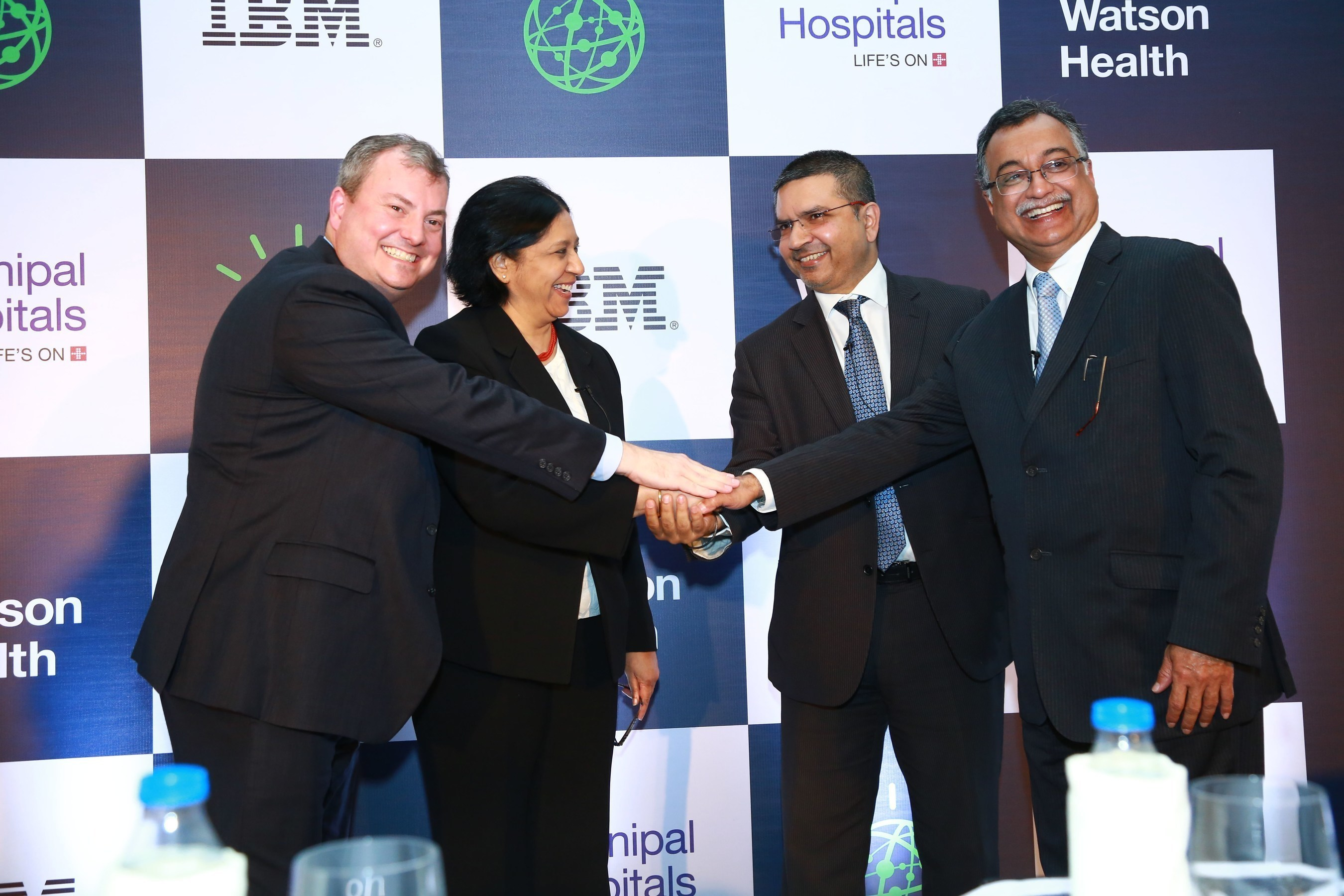 At a press event in Bangalore, IBM India Managing Director Vanitha Narayanan, IBM Watson Health Vice President Rob Merkel, Manipal Hospitals CEO & MD Dr. Ajay Bakshi, and Manipal Hospitals Chairman Dr. H Sudarshan Ballal announced that Manipal Hospitals will adopt Watson for Oncology in the first Watson engagement in India. The cognitive solution, which has been developed by IBM with experts at Memorial Sloan-Kettering Cancer Center, will help clinicians analyze massive amounts of data to identify individualized, evidence-based treatment options for the 200,000 cancer patients who receive care at Manipal facilities each year.  (Courtesy: IBM)