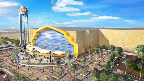 A rendering of the Warner Bros. World Abu Dhabi theme park entrance (PRNewsFoto/Miral Asset Management)