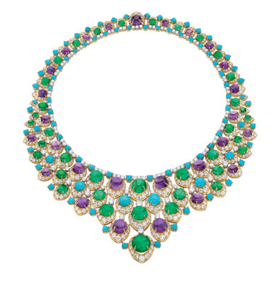 "Bulgari ""bib"" necklace in gold with cabochon emeralds, amethysts, turquoise and diamonds, ca 1965.  (PRNewsFoto/Bulgari)"