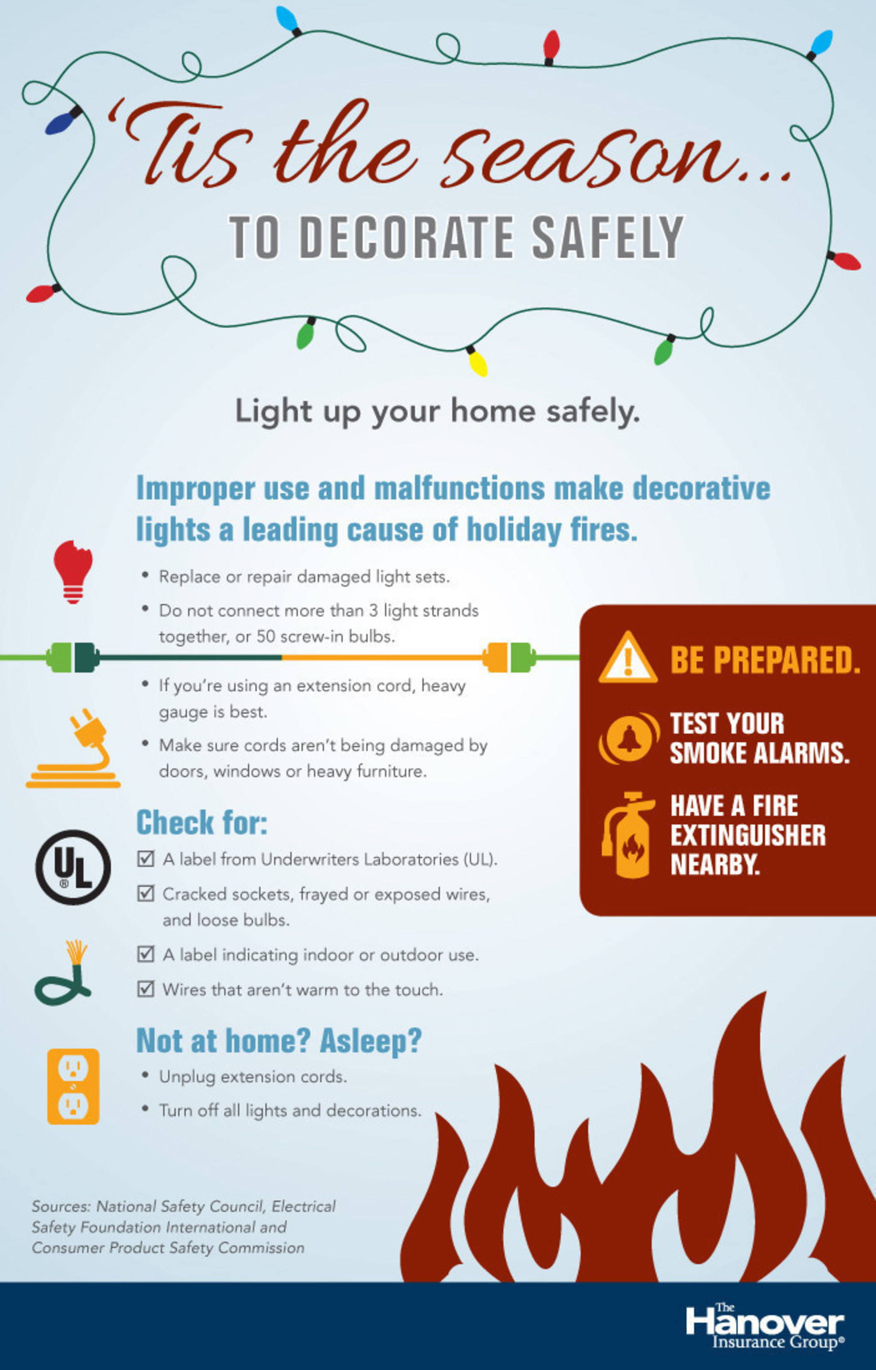 Improper use and malfunctions make decorative lights a leading cause of holiday fires. Tips to decorate safely ...