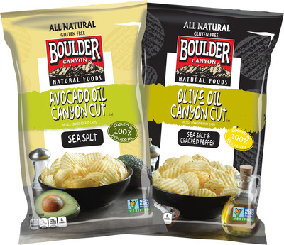 Boulder Canyon Natural Foods expands its Canyon Cut ridged potato chip line to include Avocado Oil and Olive Oil varieties.  (PRNewsFoto/Inventure Foods, Inc.)