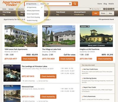 ApartmentFinder.com.  (PRNewsFoto/Network Communications, Inc.)