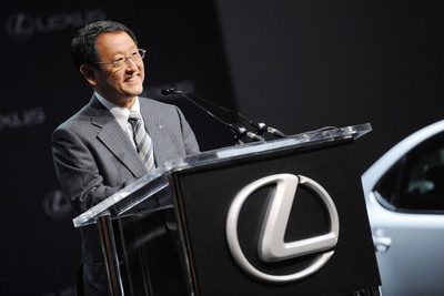 Akio Toyoda, president of Toyota Motor Corporation, addresses the media at an April 19, 2013 press conference in New York City. Senior executives announced that the Lexus ES 350 will be assembled at Toyota Motor Manufacturing, Kentucky starting in 2015.  (PRNewsFoto/Toyota)
