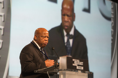"""The United States Holocaust Memorial Museum confered the 2016 Elie Wiesel Award, the institution's highest honor, on United States Representative John Lewis, of Georgia. The award was presented during the Museum's National Tribute Dinner on Wednesday, May 4. Engraved on the award are words from Wiesel's Nobel Prize acceptance speech, """"One person of integrity can make a difference."""" The Museum presents the award to an internationally prominent individual whose actions have advanced the Museum's vision of a world where people confront hatred, prevent genocide, and promote human dignity."""